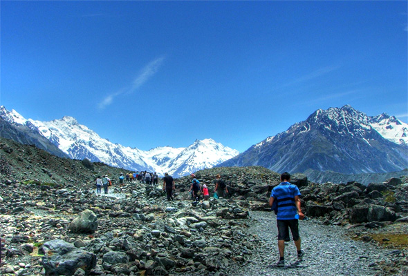 A hiking trail at the base of Mount Cook