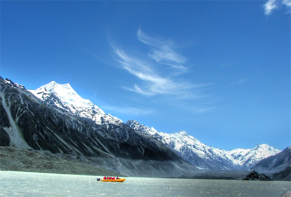 Glacier Lake, with Mount Cook in the backdrop