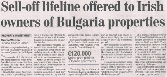 Sell-off Lifeline to Bulgarian Property Owners – Irish Independent