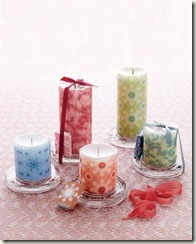 decorative pillar candles in red green and other colors