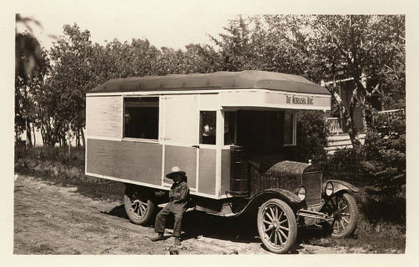 John Nelson's photograph depicted a homemade auto camper. NSHS RG3542-124-01