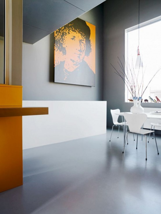 interior desing from Contemporary Patio House with Bright Yellow Exterior Looking