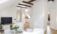 Contemporary White Apartment Interior Design Features Private Terraces