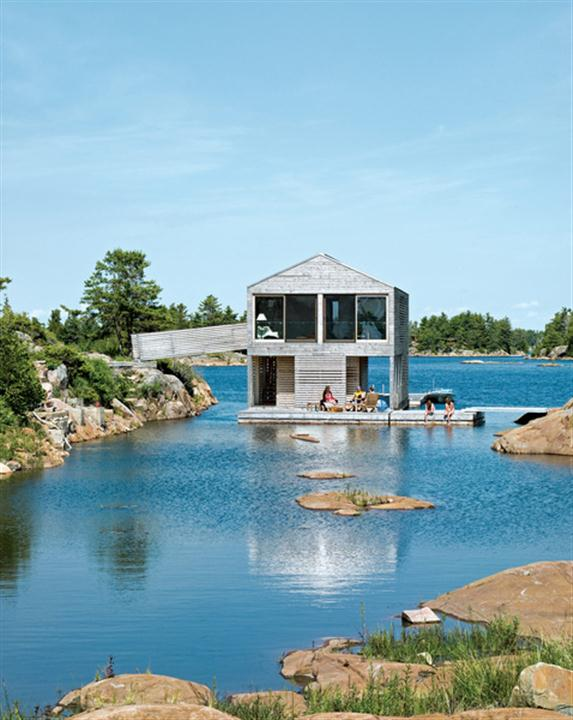 Creative Floating House Design Ideas with Dock and Boathouse