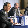 Participants at a panel discussion on Oct. 18 at the annual convention of the Japan Newspaper Publishers and Editors Association (Kazunori Takahashi)
