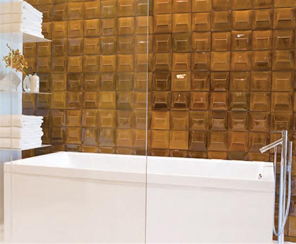 bathtub and Hand Crafted Glazed Bathroom Tiles with Gold Color