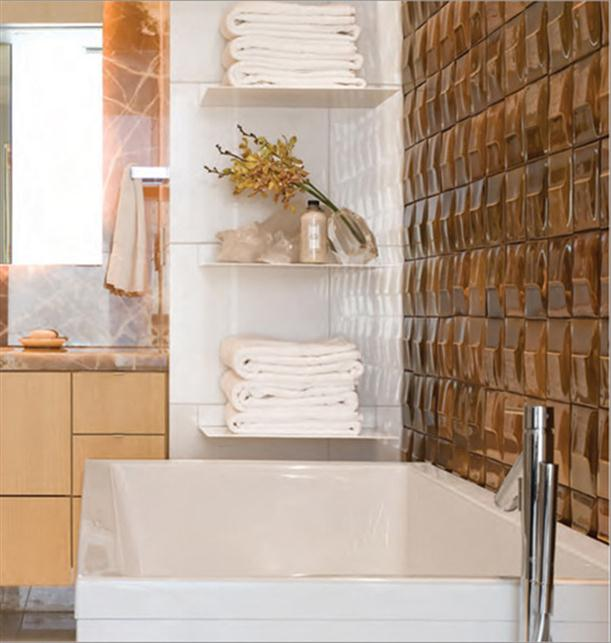 Luxurious Hand Crafted Glazed Bathroom Tiles with Gold Color