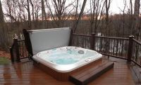 Comfortable Outdoor Jacuzzi in Wooden Deck