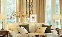 Contemporary Warm Living Room Interior Decorating ideas by Potterybarn