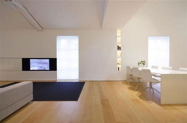 TV and dining Modern and Minimalist Apartment Interior with White Wall