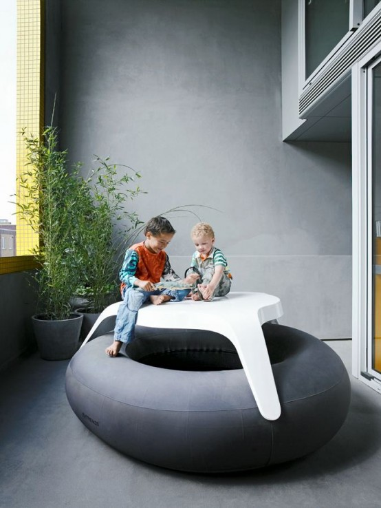 unique kids playroom Contemporary Patio House with Bright Yellow Exterior Looking
