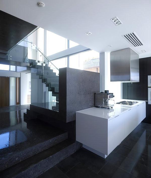 Contemporary concrete ship sail walls home design Kitchen
