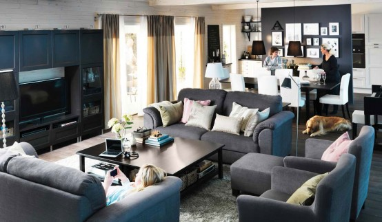 Comfortable Modern 2012 IKEA Living Room Design and Decorating Ideas