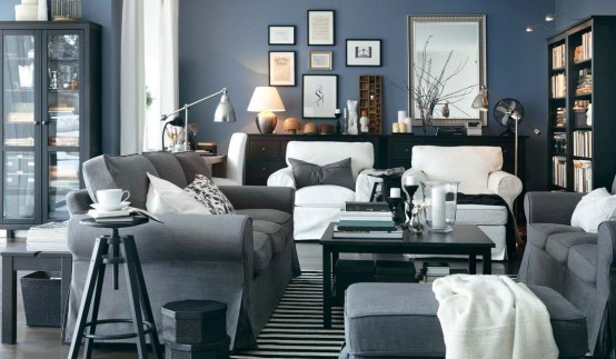 Blue grey Modern 2012 IKEA Living Room Design and Decorating Ideas