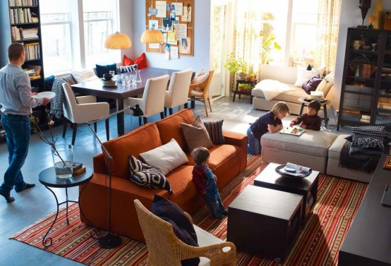 Spacious Modern 2012 IKEA Living Room Design and Decorating Ideas