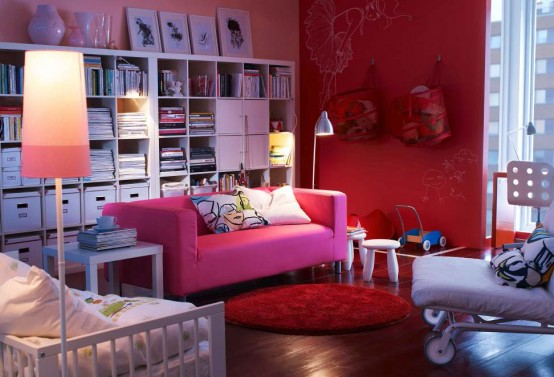 Red pinky Modern 2012 IKEA Living Room Design and Decorating Ideas