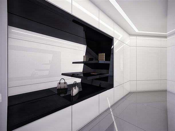 Closet Unique Black and White Apartment Interior Design