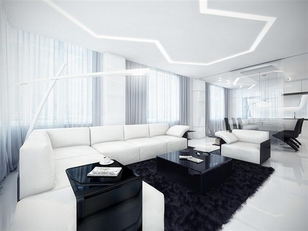 Living Area Unique Black and White Apartment Interior Design