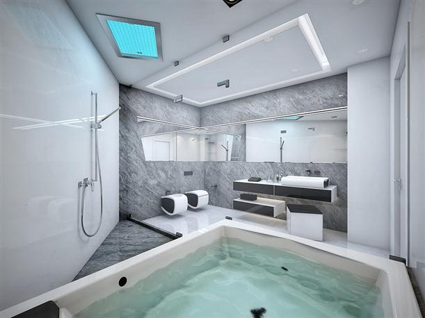 Bathtub Unique Black and White Apartment Interior Design