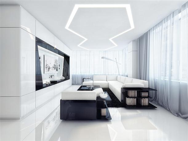 Entertainment room Unique Black and White Apartment Interior Design