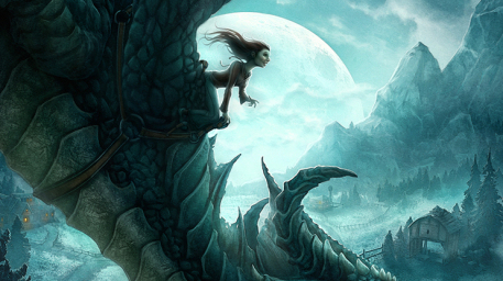 The Dragons of Ordinary Farm Cover Picture  (2d, fantasy, dragon, girl, woman, moon)
