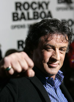 STALLONE MAKES FIST AT PREMIERE OF NEW MOVIE – Actor Sylvester Stallone makes a fist at the premiere of 'Rocky Balboa' in Philadelphia Dec. 18. Stallone came back to portray the heavyweight champion for a sixth return to the big screen since 'Rocky' opened in 1976. (CNS/Reuters)
