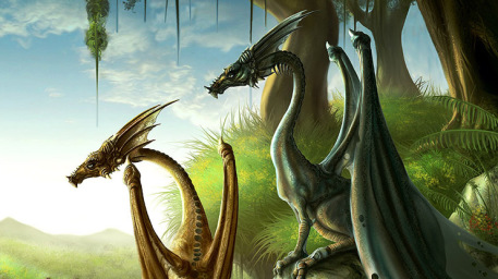 Rocza and Loiosh Picture  (2d, fantasy, book cover, dragons)