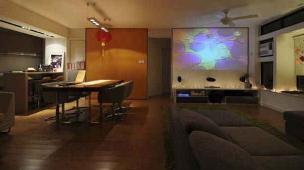 Home Theater and dining table at Contemporary Interior Design Matsuki Residence
