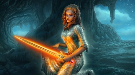 Offspring Cover Picture  (2d, fantasy, girl, woman, sword, magic)
