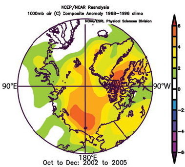 Anomalies for autumn in 2002-2005 represent deviations from the normal near surface air temperature values which were observed from 1968-1996)