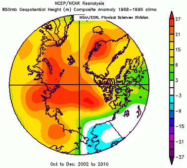 Figure 4. Anomalies represent deviations from normal pressure surface elevations over the Arctic.