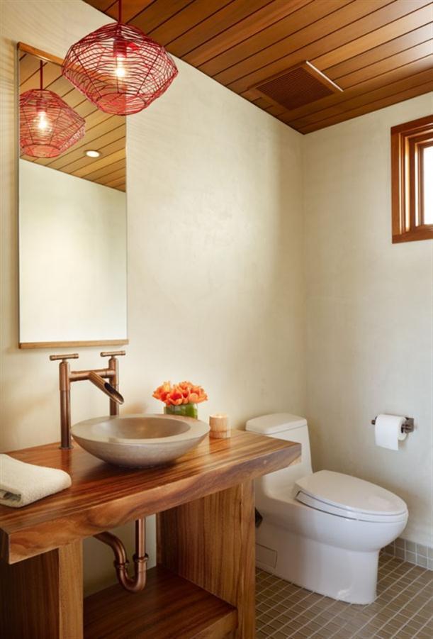 Toilet at Contemporary Natural Tropical House Design features Garden
