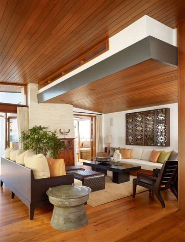 Living Room at Contemporary Natural Tropical House Design features Garden
