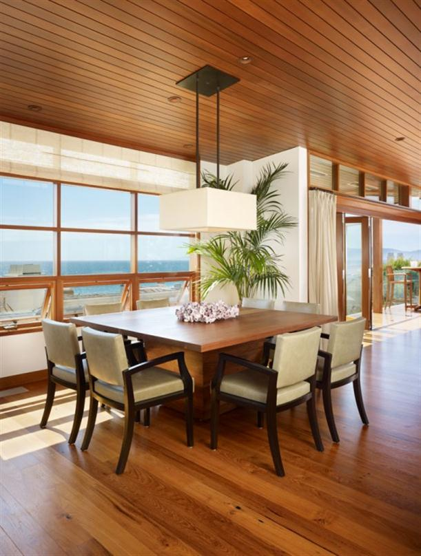 Dining Room at Contemporary Natural Tropical House Design features Garden
