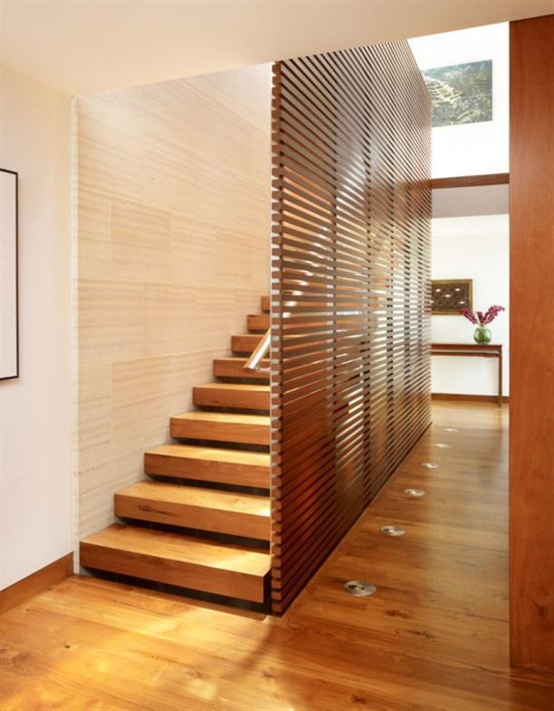 WOoden floor at Contemporary Natural Tropical House Design features Garden
