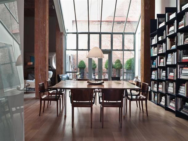 Books self at Apartment Interior Design with Contemporary and Modern Style