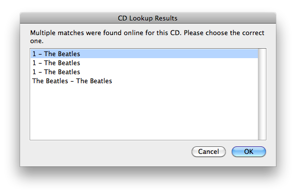 CD Lookup Results