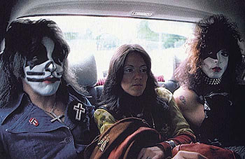Lydia with Peter Criss (l) and Paul Stanley (r)