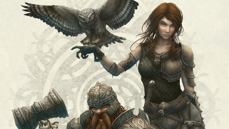 Couple Picture  (2d, fantasy, warriors, owl, girl, woman, gnome, dwarf, role playing)