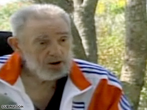Former Cuban President Fidel Castro appears Tuesday in a video broadcast on Cuban television.