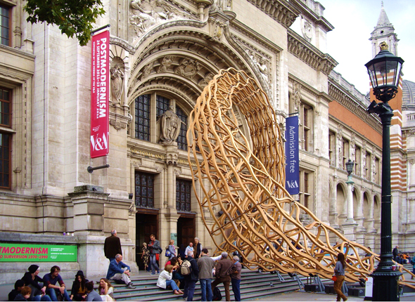 Timber wave sculpture at the V&A museum
