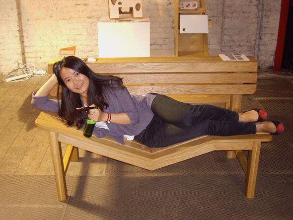 Minsung Lee on her bench at Designers Block at LDF
