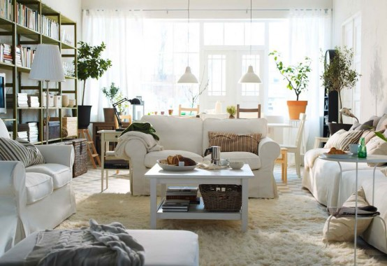 White Modern 2012 IKEA Living Room Design and Decorating Ideas