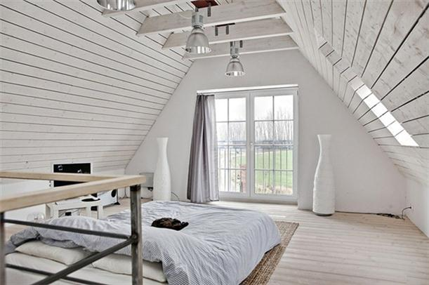 Bedroom at Spacious and Bright Villa Design in Sweden