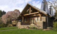 Traditional Style Home Design with Stone and Wooden Material