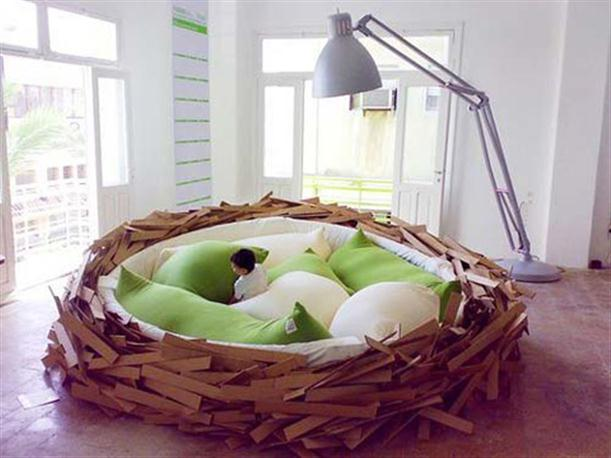 Child in Unique Giant Bird Nest Like Bed Design