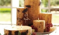 Unique and Creative Rustic Style Birch Pillar Candle Ideas for Christmas
