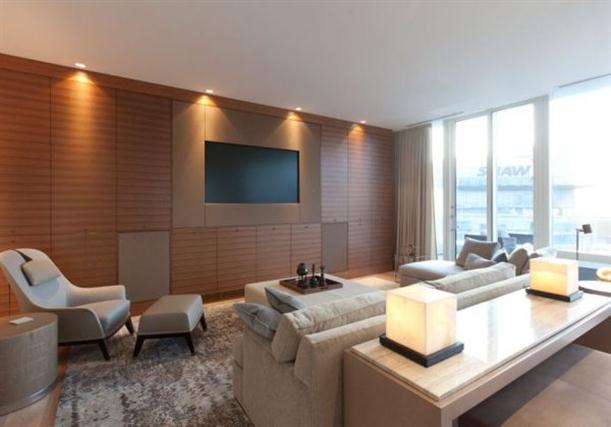 TV room at Modern Contemporary Apartment Interior Design in Vancouver