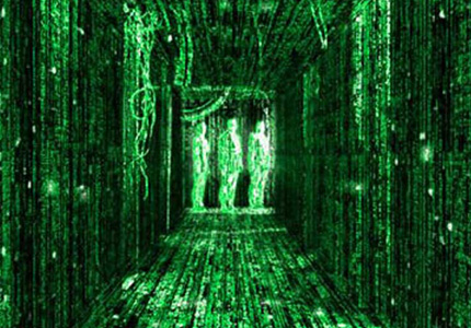 Looking beneath the surface: a hallway in The Matrix.