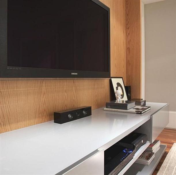 TV at Modern and Minimalist Apartment Interior Design with Calm Color